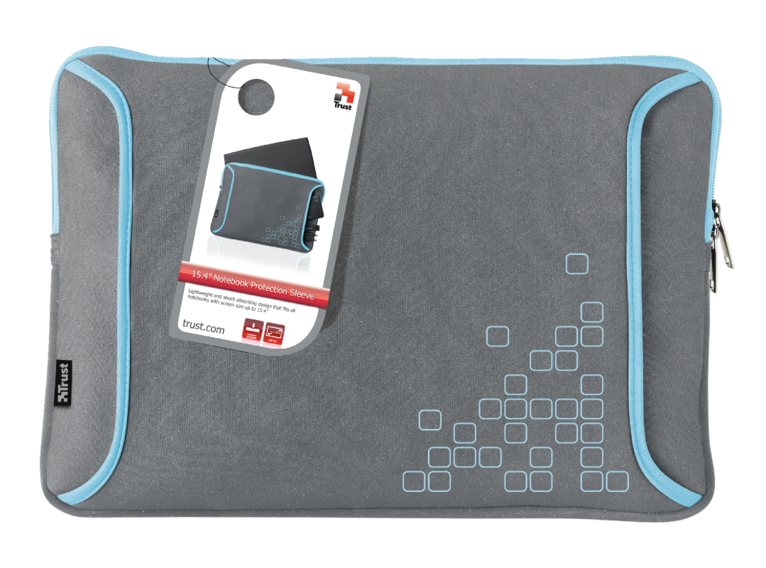 """15.4"""" Notebook Protection Sleeve - Grey/Blue-Visual"""