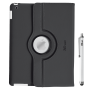 Rotating Cover for iPad with stylus pen - black-Front