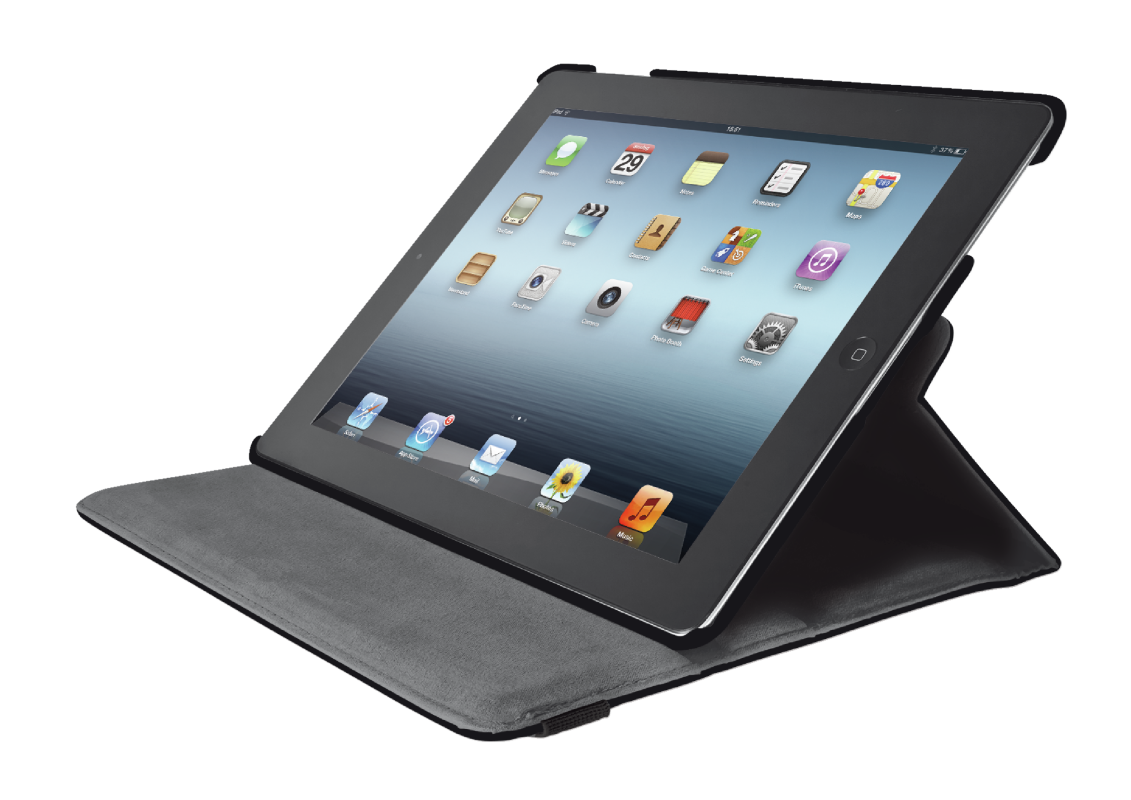 Rotating Cover for iPad with stylus pen - black-Visual