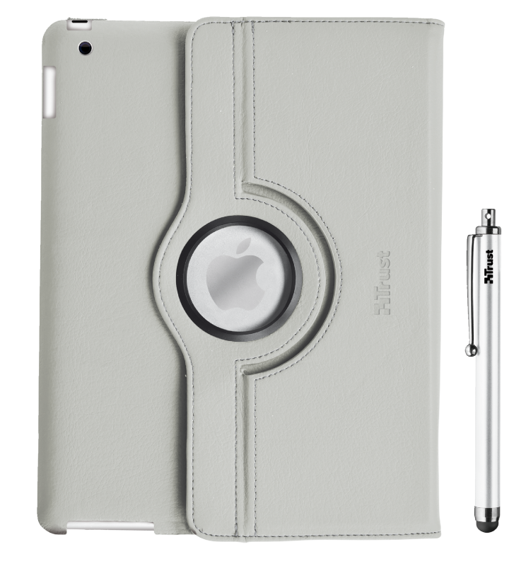 Rotating Cover for iPad with stylus pen - grey-Front