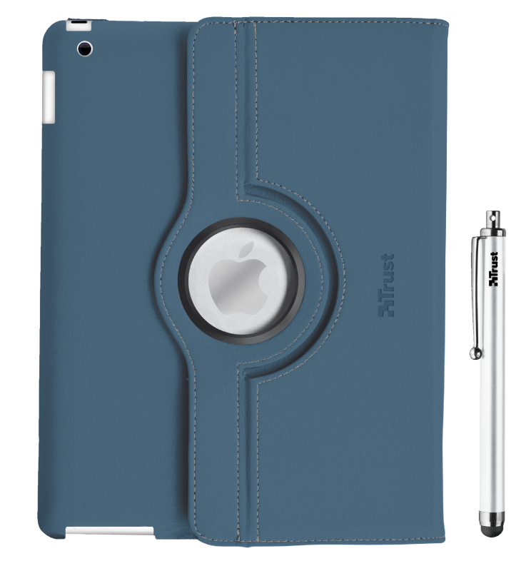 Rotating Cover for iPad with stylus pen - blue-Front