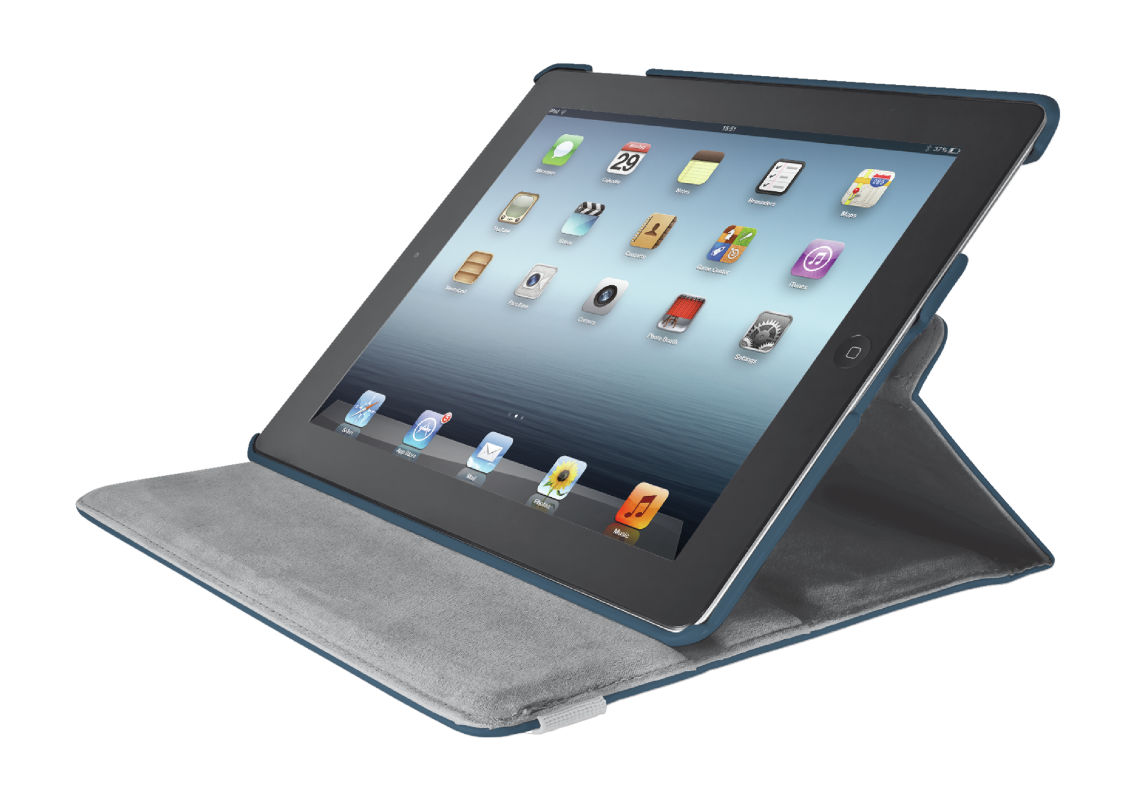 Rotating Cover for iPad with stylus pen - blue-Visual