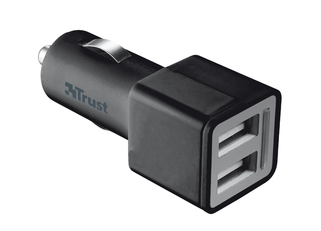 12W Car Charger with 2 USB ports - black-Visual