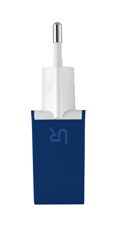 5W Wall Charger with 2 USB ports - blue-Side
