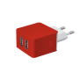 5W Wall Charger with 2 USB ports - red-Visual