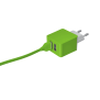 5W Wall Charger with 2 USB ports - lime green-Visual