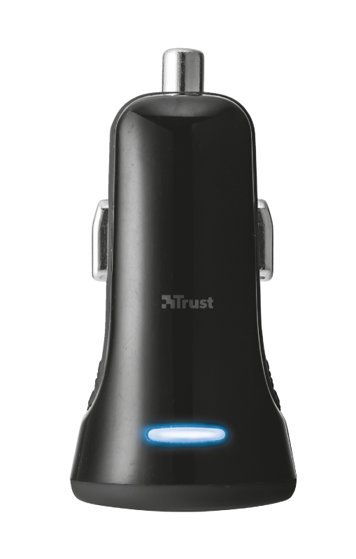 20W Fast Car Charger with 2 USB ports - black-Top