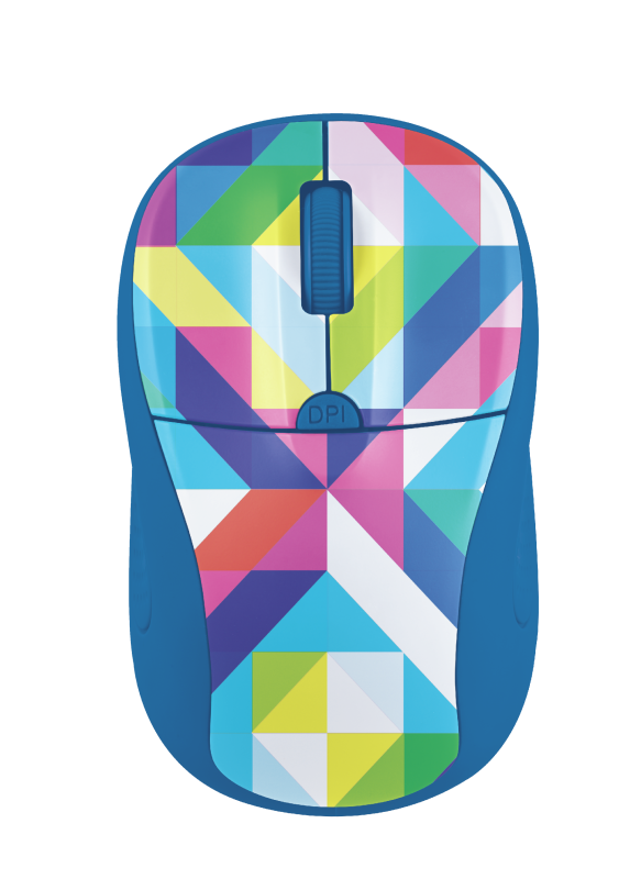 Primo Wireless Optical Mouse - blue geometry-Top