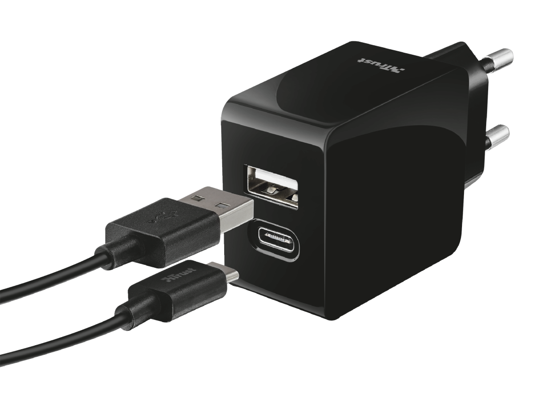 Fast Dual USB-C & USB Wall Charger for phones & tablets-Visual