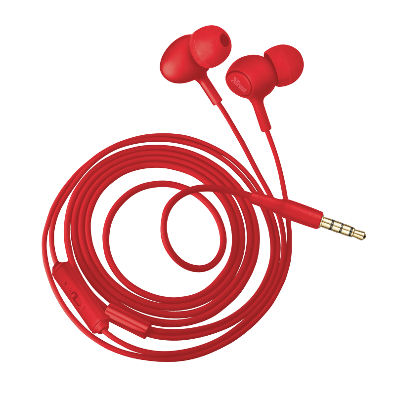 Ziva In-ear Headphones with microphone - red-Visual