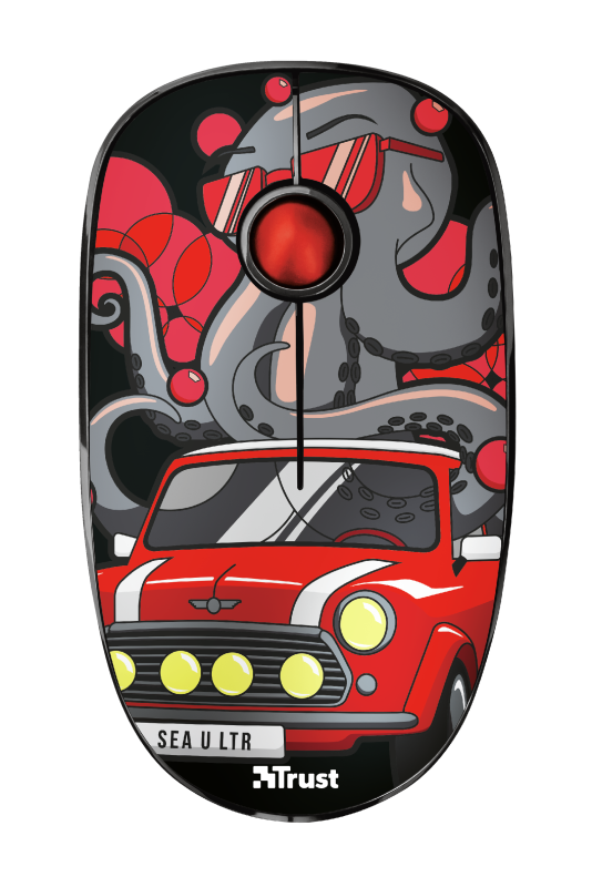 Sketch Silent Click Wireless Mouse - red-Top