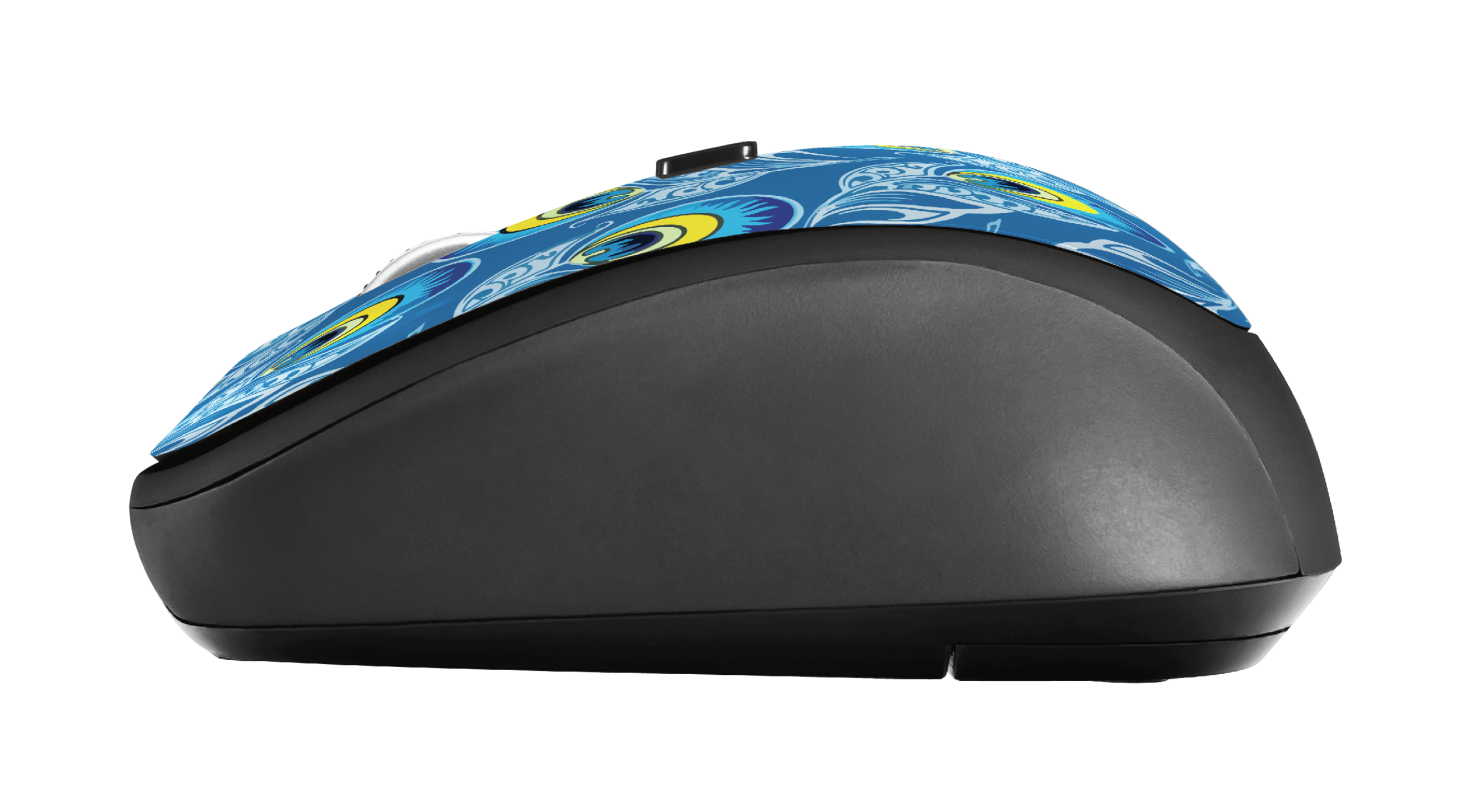 Yvi Wireless Mouse - peacock-Side