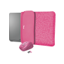 """Yvo Reversible Sleeve for 15.6"""" Laptops with wireless mouse - pink hearts-Visual"""