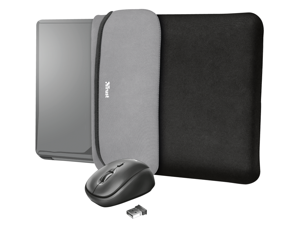 """Yvo Reversible Sleeve for 15.6"""" Laptops with wireless mouse - black-Visual"""