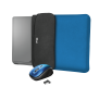 """Yvo Reversible Sleeve for 15.6"""" Laptops with wireless mouse - blue-Visual"""