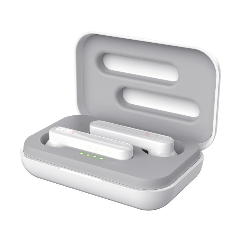 Primo Touch Bluetooth Wireless Earphones - white-Visual