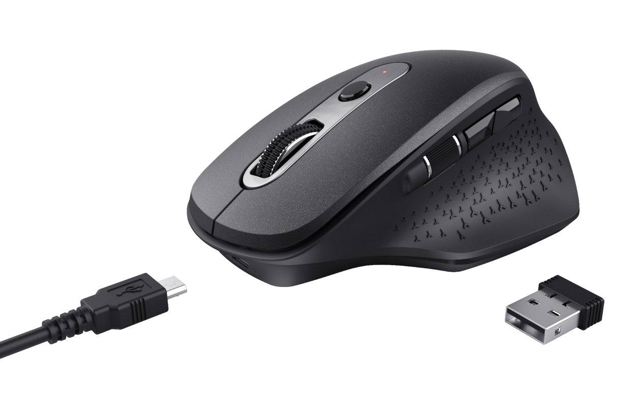Ozaa Rechargeable Wireless Mouse - black-Visual