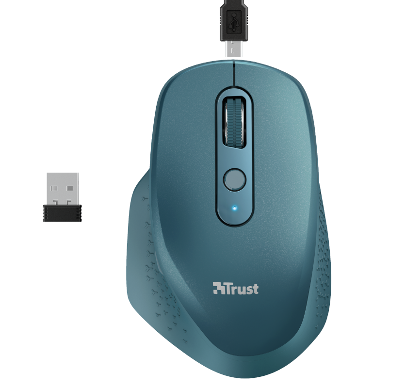 Ozaa Rechargeable Wireless Mouse - blue-Top