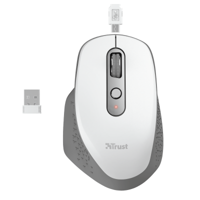 Ozaa Rechargeable Wireless Mouse - white-Top