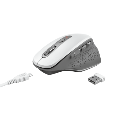 Ozaa Rechargeable Wireless Mouse - white-Visual